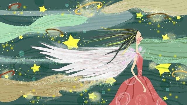 Little fresh fairy starry sky planet illustration, Small Fresh, Fairy Fairy, Starry Sky illustration image
