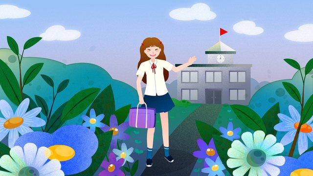 Feliz para ir à escola na temporada escolar de setembroPequeno  Fresco  Linda PNG E PSD illustration image