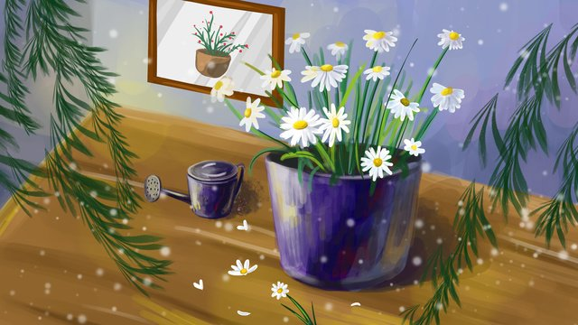 Fresh flower realistic daisy, Small Fresh, Flowers, Realistic illustration image
