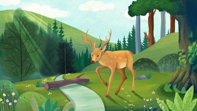 rừng xanh nhỏ tươi với yếu tố nền minh họa hươu sika Hình minh họa Hình minh họa
