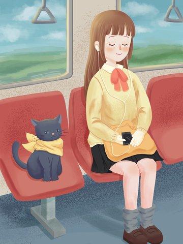 バスのイラストの上に座って小さな新鮮で美しい癒しの猫の女の子 イラスト画像