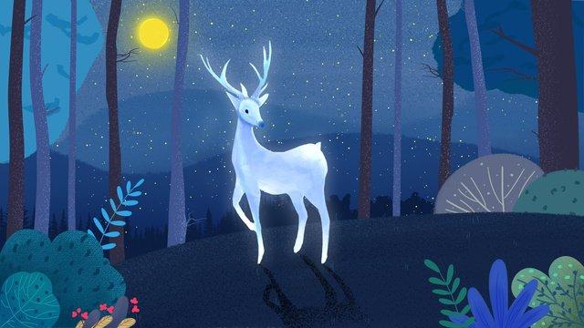 小清新治愈系森林與鹿夜晚插畫 插畫素材 插畫圖片
