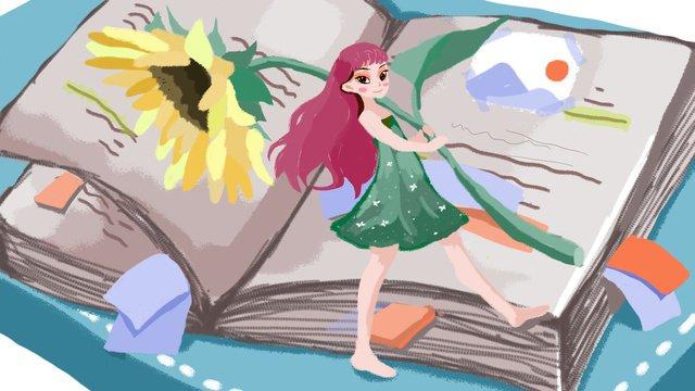 작은 신선한 치유 시스템 해바라기 소녀 도서 폴더를 들고 삽화 소재 삽화 이미지
