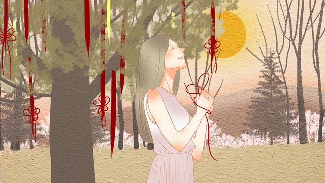 少し新鮮な秋、こんにちはツリーの下の女の子を願い イラスト素材 イラスト画像
