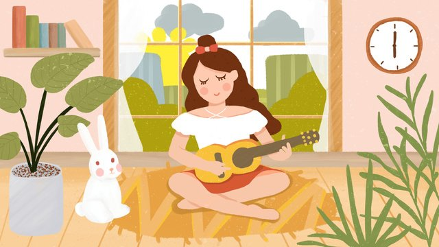 Small fresh cure good morning little girl playing guitar hand drawn illustration, Small Fresh, Hello There, Cure illustration image