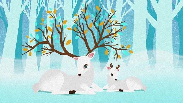 신선한 치유 시스템 포리스트 및 사슴 그림 삽화 소재 삽화 이미지