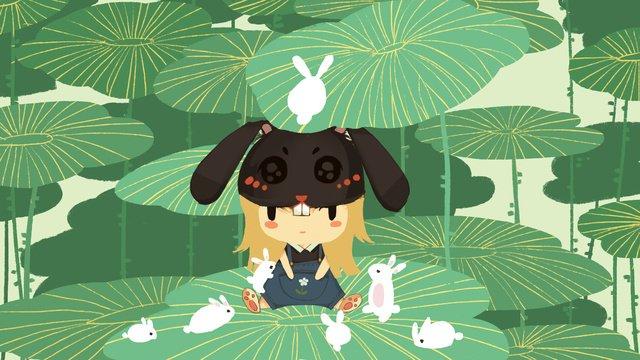 Little fresh cute girl and her rabbits, Small Fresh, Lovely, Girl illustration image