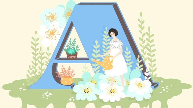 Little fresh cute letter 邂逅 watering flower girl a, Small Fresh, Lovely, Letter illustration image