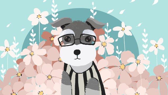 花の小さな新鮮なかわいい犬ペットシュナウザー イラスト素材