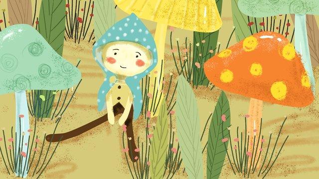 Small fresh mushroom bush elf leaf grass illustration llustration image
