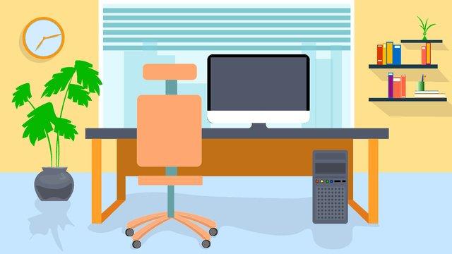 Fresh office business illustration, Small Fresh, Office, Business illustration image