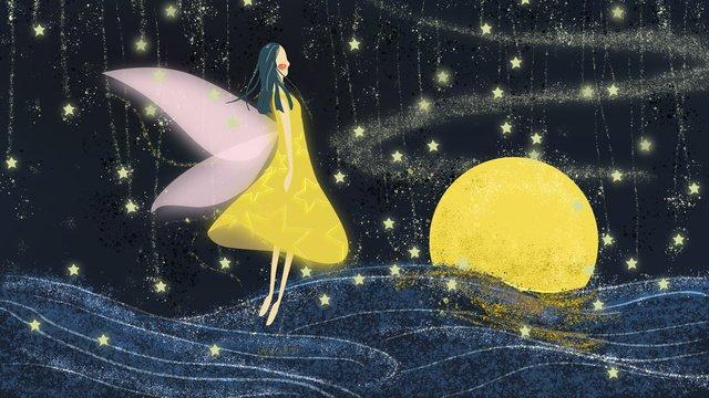 small fresh starry sky over the elf girl moonlight cloud illustration llustration image