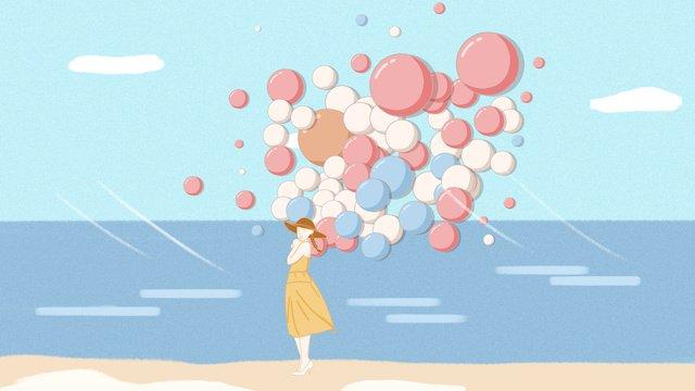 Little fresh girl by the sea ballooning world travel day illustration, Small Fresh, World Tourism Day, Balloon illustration image