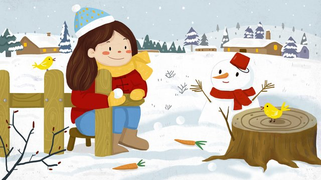 fresh light snow festival winter snowman outdoor scene northern llustration image