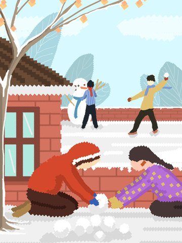 Snowball retro pixel original illustration, Snowball Fight, Make A Snowman, North illustration image