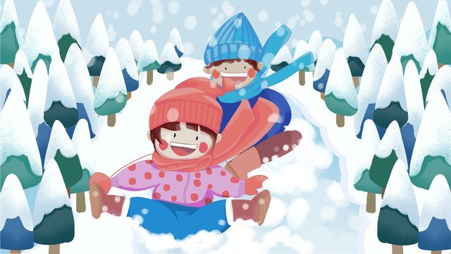 winter snowflake flying jungle boy girl having fun skiing llustration image illustration image