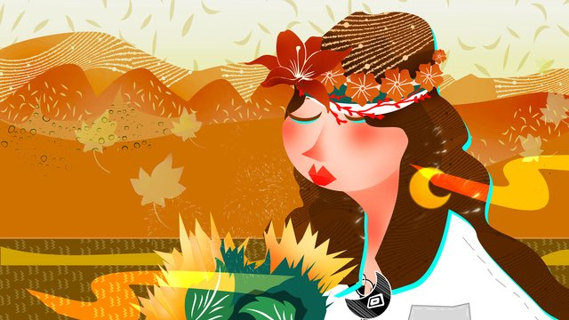 Solar terms Autumnal beginning of autumn fall, Illustration, Girl, Solar Terms illustration image