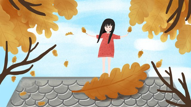 Original festival autumn equinox girl deciduous yellow leaves hand painted roof sky, Solar Terms, Autumnal, Girl illustration image