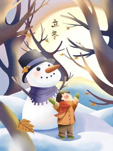 눈 덮인 겨울 눈사람과 어린 소녀 에너지 1 가득 삽화 소재