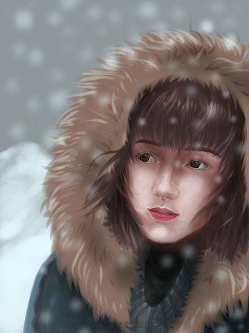 スノーキャップコートを着ている重いスノーフレークの現実的な降雪を持つ少女 イラスト画像