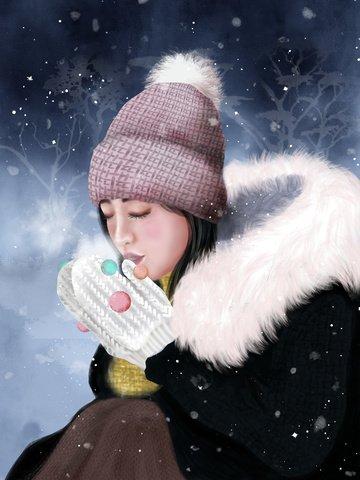 太陽用語、雪、冬、女の子、手袋、雪、綿、ウール、帽子、風邪 イラスト素材