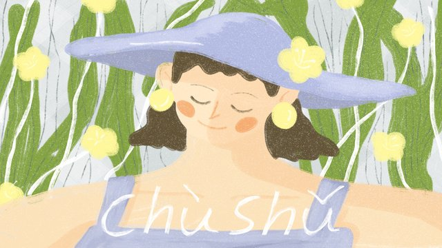 Little girl in a summer cap llustration image illustration image