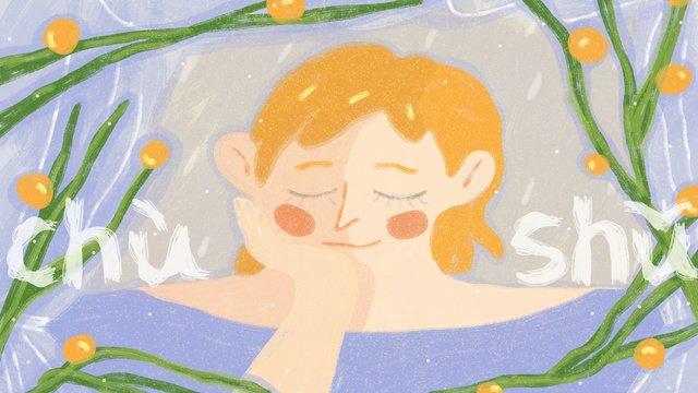 Solar energy summer orange girl and small fruit llustration image
