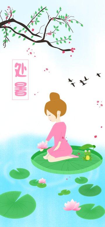 The solar terms little girl river lantern small fresh original illustration llustration image