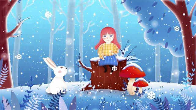 winter snowy forest girl bunny illustration llustration image illustration image