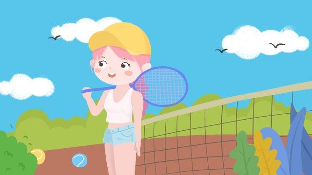Campus games baseball girl cartoon cute illustration, Sports Meeting, Baseball, Motion illustration image