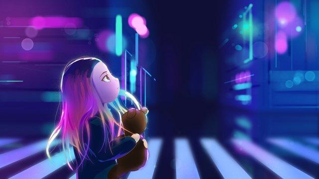 original illustration little girl city neon llustration image illustration image
