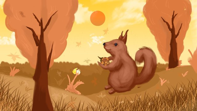 Autumn cute little squirrel, Squirrel, Lovely, Fall illustration image