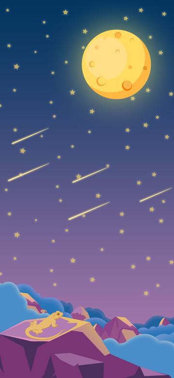 star Starry sky moon meteor, Cloud, Cloud Sea, Mountain illustration image