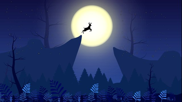 Deer leaping over the cliff in middle of night, Starlight, Moon, Deer illustration image
