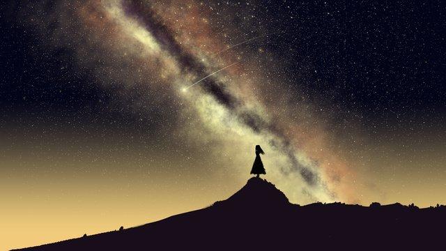 Starry glamour aurora under the stars girl cure illustration poster中元节  唯美  壁纸PNG和PSD illustration image