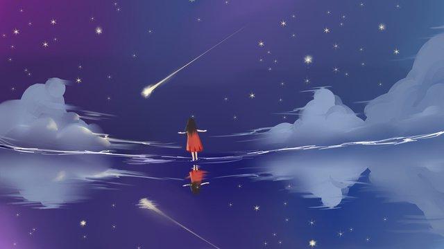 इलस्ट्रेटर के नीचे तारों वाला आकाशतारों  वाला  आकाश पीएनजी और PSD illustration image