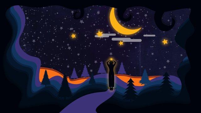 vento atmosférica de papel microscópico simples expansivo céu estrelado menina silhueta ilustração Material de ilustração