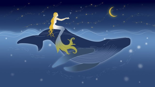 Deep sea whale and mermaid under the stars, Starry Sky, Deep Sea, Whale illustration image