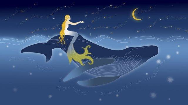 الحوت في أعماق البحار وحورية البحر تحت النجوم مواد الصور المدرجة الصور المدرجة