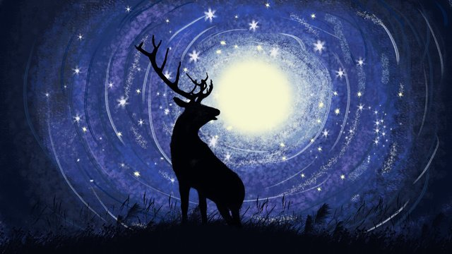 Starry sky deer moon moonlight, Star, Peak, Look Up illustration image