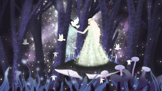Dream starry forest princess公主  插画  星空PNG和PSD illustration image