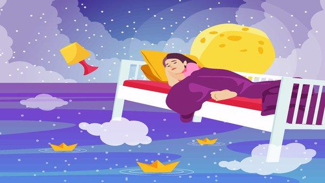 Starry sky dream night dream, Dreamland, Float, Xinghai illustration image