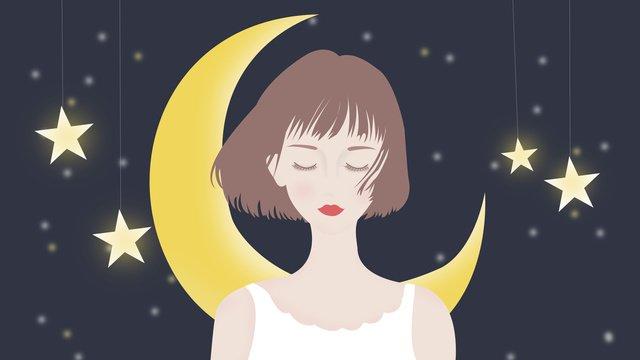hello good night dream starry small fresh beauty original illustration llustration image illustration image