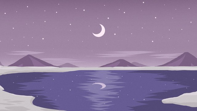 Starry sky month moonlight sea, Reflection, Star, Purple illustration image