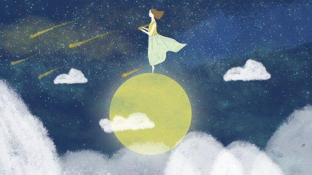 starry moon مهرجان منتصف الخريف healing wonderland meteor girl صورة llustration