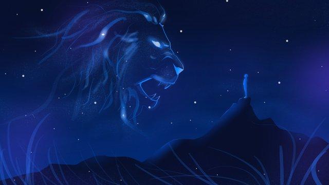 Original illustration twelve constellations leo, Starry Sky, Night, Lion illustration image
