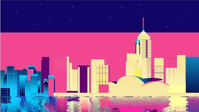 Neon city tech wind vector illustration, Starry Sky, Reflection, Vector illustration image