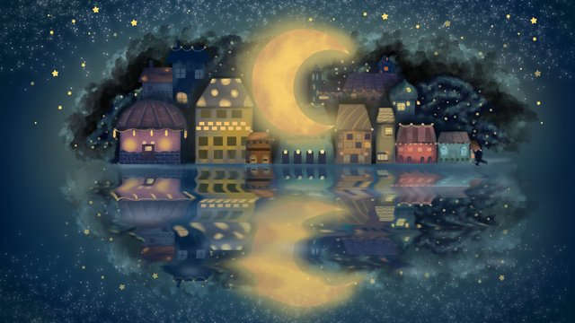 Good night quiet town cure illustration llustration image illustration image