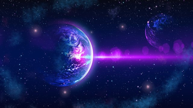 Starry glamour dream earth beautiful purple blue gradient background poster, Starry Sky, Space, Earth illustration image