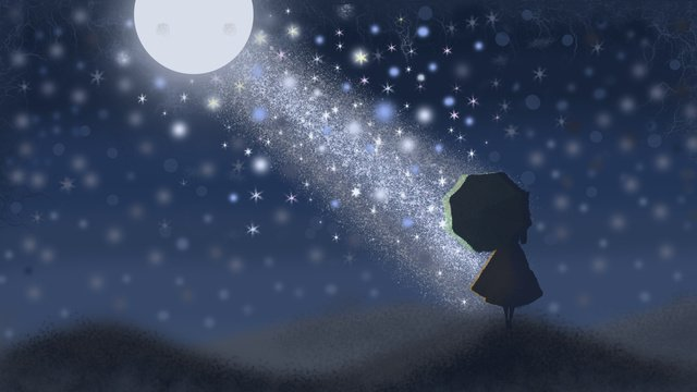 सितारों के नीचे एक छाता साथ लड़की चित्रण छवि